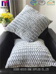 Wholesale fake fur: Fake Fur Bottom Printed Check Design Factory Cushion