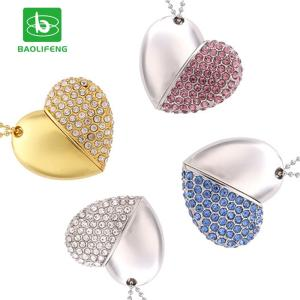 Wholesale crystal keychain: Factory Wholesale Heart Shape Crystal USB 2GB 4GB 8GB 16GB 32GB Jewelry USB Flash Drive