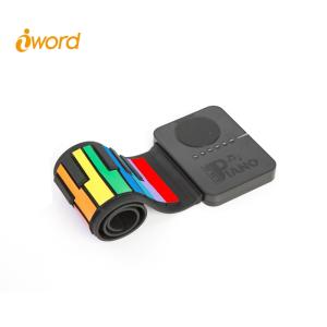 Wholesale education instruments: Iword S3037C 37 Keys Roll Up Piano with Speaker in Rainbow Color
