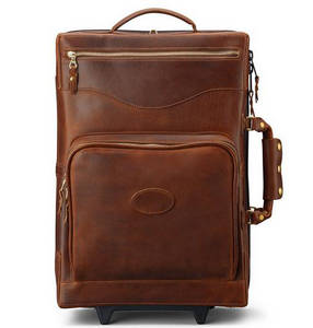 Wholesale genuine leather luggage: Carry On Genuine Leather Trolley Bag Luggage