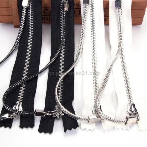 5# Double Closed Tail Metal Zipper Platinum Double Pull Head Plus Chain Zipper Size Installed Nylon