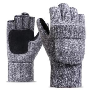 Wholesale acrylic glove: Uni-sex Winter Mittens Half-finger Flip Gloves