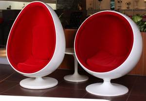 Wholesale egg chair: Fiberglass Oval Egg Space Pod Eye Ball Shaped Chair LAN017