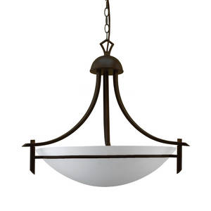 Wholesale glass pendant light: 3 Light Pendant Chandelier in Classic Oil Rubbed Bronze Finish with White Glass Bowl