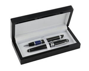 Wholesale black pen: Black High Gloss Wooden Pen Box