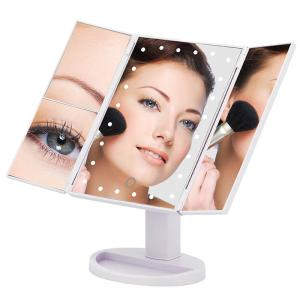 Wholesale makeup mirror: Top Sale Cosmetic LED Makeup Mirror Trifold Mirror 10X Magnifying LED Mirror