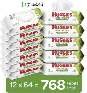 Wholesale baby care: HUGGIES Natural Care Baby Wipes, 12 Packs, 768 Total Wipes