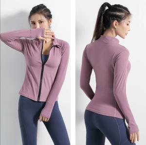 Wholesale women's dress: Sports Coat Women's Long Sleeves Stretch Tight Thin Yoga Dress Quick Dry Leisure Running Training Zi