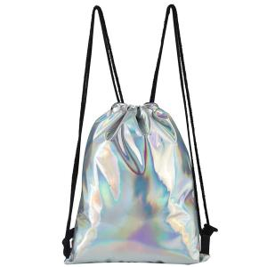 Wholesale brand wallets: Holographic PU Drawstring Backpack Sports Bag