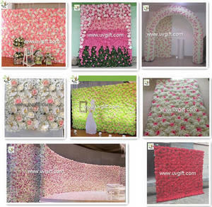 Wholesale background wall: UVG DIY Party Background in Silk Rose and Hydrangea Flower Wall Backdrops for Weddings