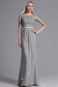 Wholesale applique: Grey Mother of the Bride Dress with Lace Appliques