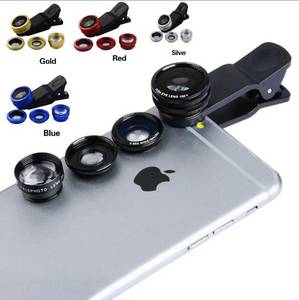 Wholesale Camera Lenses: 2016 Universal Clip 3 in 1 Fish Eye Wide Angle Macro Fisheye Mobile Phone Lens for Iphone 6 5 5s 4 4