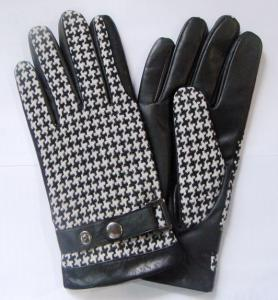 Wholesale men pu belt: Palm Leather Front Fabric Mens Cheap Leather Gloves with Leather Belt
