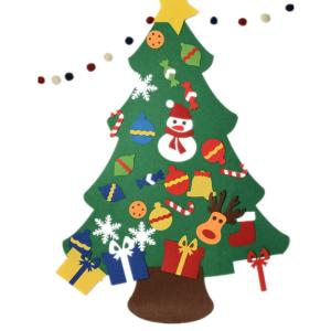 Wholesale christmas ornaments: Wall Mounted Felt Christmas Deco Tree DIY Christmas Tree with Detachable Ornaments