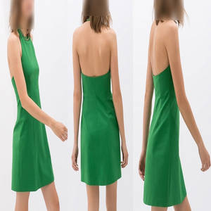 Wholesale sexy dress: Fashion A-line Sexy Halter Dress Women Round Neck Party Dress Occupation One-piece Dress