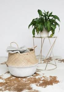 Wholesale laundry baskets: White Dipped Bottom Basket/ Laundry Seagrass Basket