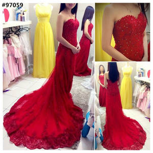 Wholesale Evening Dresses: Red Lace Appliques Wedding Gown Beaded