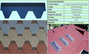 Wholesale bitumen shingle: Bitumen roof tile SGB Asphalt Shingle SERIES3 Mosaic Standard Shingle