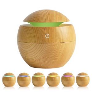 Wholesale usb essential oil diffuser: WF103    Wafue 130ml Wood Grain 7 Color LED Ultrasonic Aroma Diffuser
