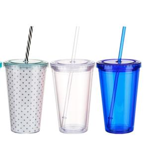 Wholesale straw cup: Wholesale Custom Printed Color Logo Clear Plastic Straw Cup with Lid