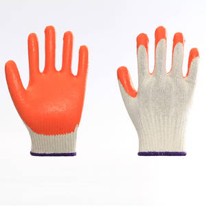 Wholesale knitting machinery: Cotton Liner Latex Coating Safety Working Gloves