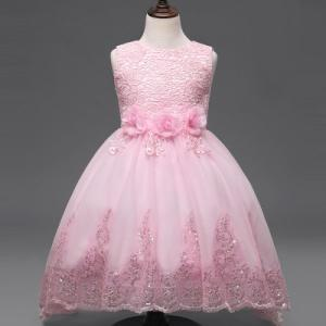 Wholesale children dress: Spring Festival Children's Skirt, Children's Princess Dress, Lace Girl Dress, Euro-American Children