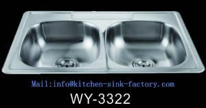 Wholesale basin drain: Satin Double Bowl Fregadero 33*22  Stainless Steel Sink 3322