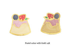 Wholesale Earrings: 14k Gold Enamel Handmade Pudding Earring