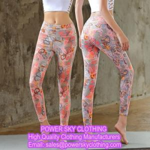 Wholesale oem fitting: OEM Female Slim Tights Pants Fitness Yoga Sports Leggings From Power Sky Clothing Manufacturers