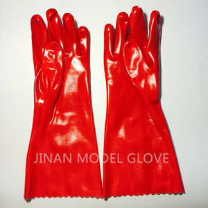 Wholesale red pvc gloves: CE Certificated Red PVC Coated Safety Glove