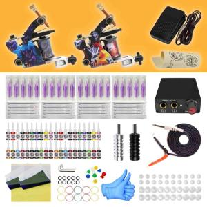 Wholesale cap cords: 2 Colorful Tattoo Machine Kit New Design