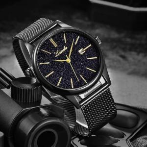 Wholesale men watches: Men's Watch Waterproof Ultra-thin Men with Black Skin Wormhole Concept Table