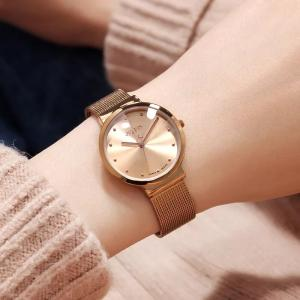 Wholesale Watch Boxes, Cases: Stylish Ultra-thin Hand Chain Watch with Korean Steel Band for Ladies