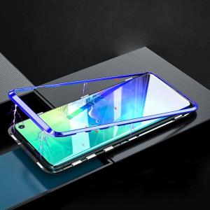 Wholesale glass cover: 360 Full Cover Magnetic Adsorption Phone Case with Double Sides Tempered Glass for Samsung S10 ZY-01