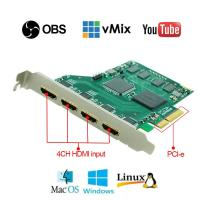4CH-input 1080P HDMI Video Capture Card Used for Gaming Live Streaming for Youtube, VMix / OBS