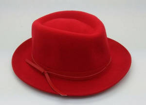Wholesale leather belt: Wool Felt Homburg Hat with Leather Belt 100% Wool
