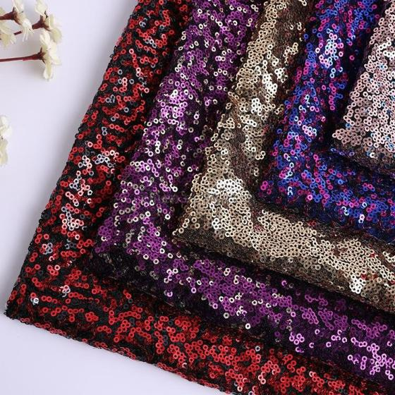 3MM Sequin Polyester with Spandex Embroidery Wedding Costume Fabric 5 Colors