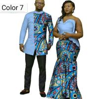 African Couple Cotton Clothing African Ethnic Wax Printing Dress and Men's Shirt
