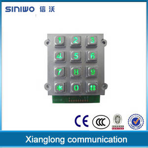 Wholesale zinc alloy keypad: Ningbo Yuyao Custom Matrix Metal Dome Zinc Alloy Illuminated|backlighting LED Keypad