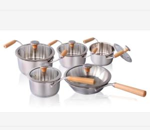 Wholesale stainless steel cookware: Stainless Steel Wooden Handle Induction Cookware Set