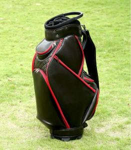 Wholesale pu leather: Black and Red Color PU Leather Staff Golf Bag with Top Divider Handle