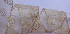 Wholesale organza: Gold Organza with Glitters Stars and Circles Printing, Sewing Gold Metallic  Wire Edge