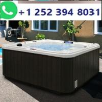 6-Person 30-Jet Premium Acrylic Lounger Sterling Silver Spa Hot Tub with Backlit LED Waterfall
