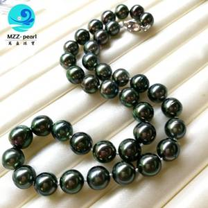 Wholesale necklace: Black South Sea Pearl 10-12mm Round Tahitian Pearl Necklace with S925 Clasp