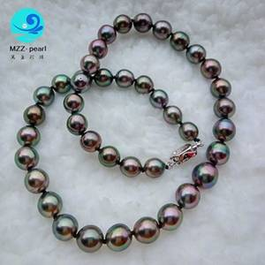 Wholesale Pearl Jewelry: Genuine Black Near Round 8-10mm Tahitian Seawater Pearl Necklace for Wholesale