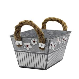 Wholesale handle: Metal Flower Pot with Rope Handle