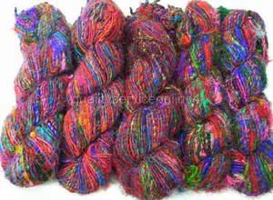 Wholesale fiber crafts: Recycled Soft Silk Yarn Multicolor