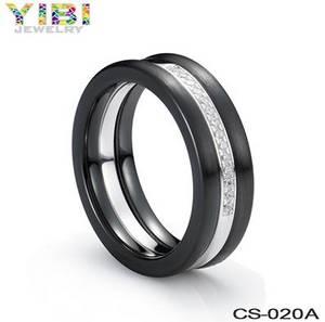 Wholesale diamond rings: Streamlined Diamond Inlay Ceramic Wedding Jewelry, Round Black Ceramic Rings