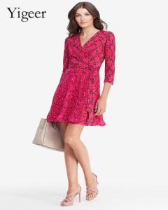 Wholesale casual dresses: Red Floral Long Sleeve Feminine Casual Dress