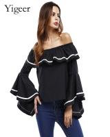 Off Shoulder Flare Sleeve Fashionable Loose Top Blouse